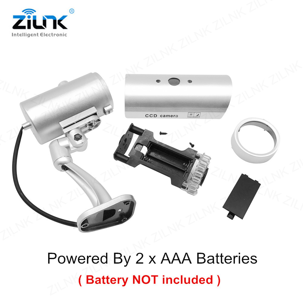 Image 3 - ZILNK Waterproof Dummy Camera Bullet Flashing Red LED Outdoor Indoor Fake CCTV Security Simulation Camera Silver Free Shipping-in Surveillance Cameras from Security & Protection