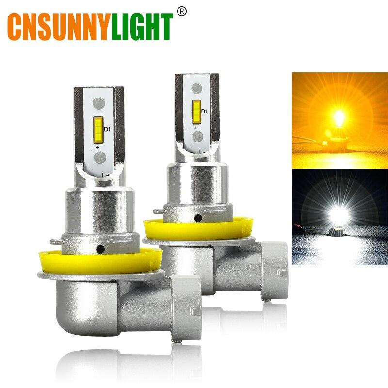 CNSUNNYLIGHT H11 9005/HB3 9006/HB4 LED luz antiniebla del coche bombilla de faro 2400Lm 6000K blanco 3000K foglamp delantero automático H9 H8 H16 amarillo