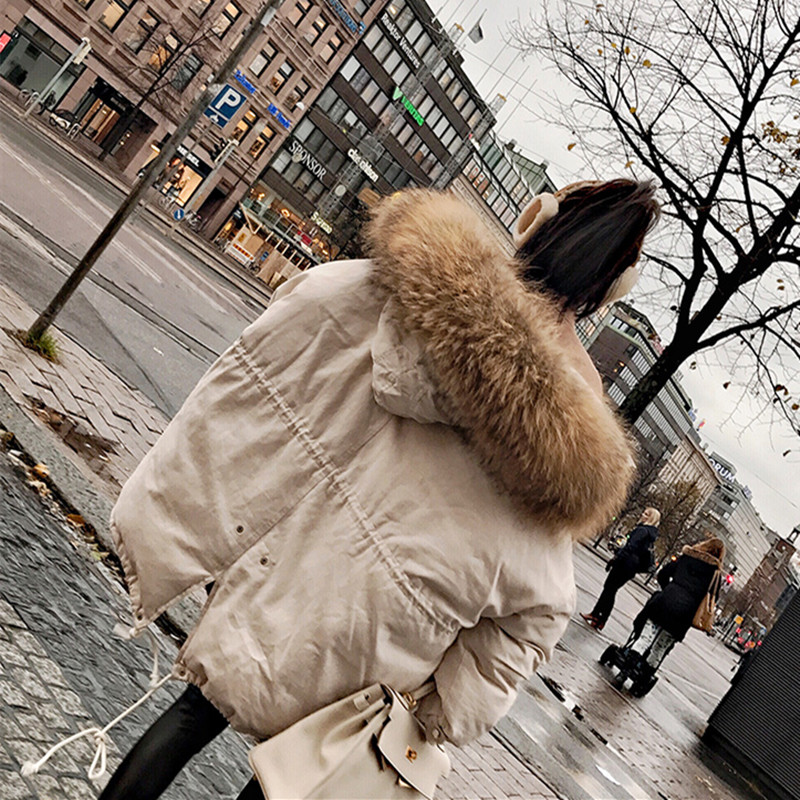 Large Faux For Fur Coat Women Winter Jacket 2017 New Fashion Female Parka Thick Cotton Padded Loose Women Coat Outwear Overcoat new fashion winter jacket women fur collar hooded jacket warm thick coat large size slim for women outwear parka women g2786