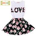 2016 Summer Kids Girl Clothing Sets Skirt 2016 Letter T-shirt+Flower Skirt Girls Kids Clothing Set Summer Kids Clothing Set Girl