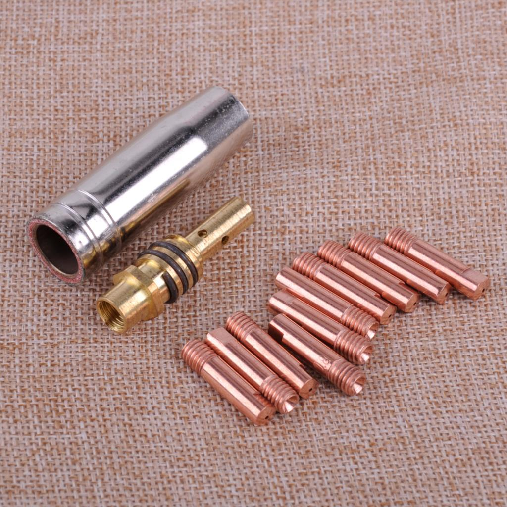 LETAOSK New 12pcs MB 15AK MIG/MAG Welding Torch Contact Tip 0.8 x 25mm M6 Gas Nozzle Shroud Holder Kit