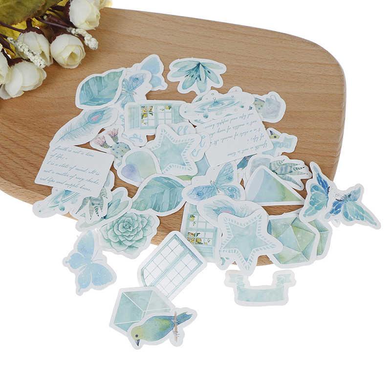 46 unids/pack DIY diario Scrapbooking teléfono índice sello pegatinas verde bosque plantas Bosk decorativo planificador pegatinas