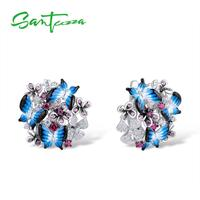 SANTUZZA Silver Earrings For Women 925 Sterling Silver Earrings Cubic Zirconia Delicate Blue Butterfly Fashion Jewelry Enamel