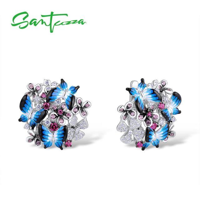 SANTUZZA gümüş küpe kadınlar için 925 ayar gümüş küpe kübik zirkonya narin mavi kelebek moda takı emaye