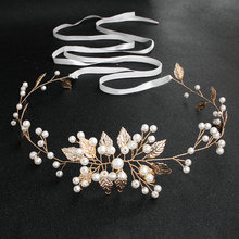 2019 Newest Gold Leaves Pearls Wedding Belts and Sashes Alloy Bridal Sash Dress Accessories for Ladies