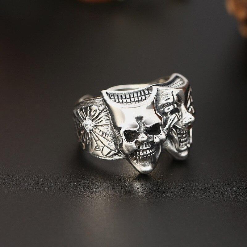 Largeur 18mm Hiphop Double face crâne Clown initiale réglable amour anneau 100% 925 bijoux en argent Sterling hommes mosaïque pierre anneau