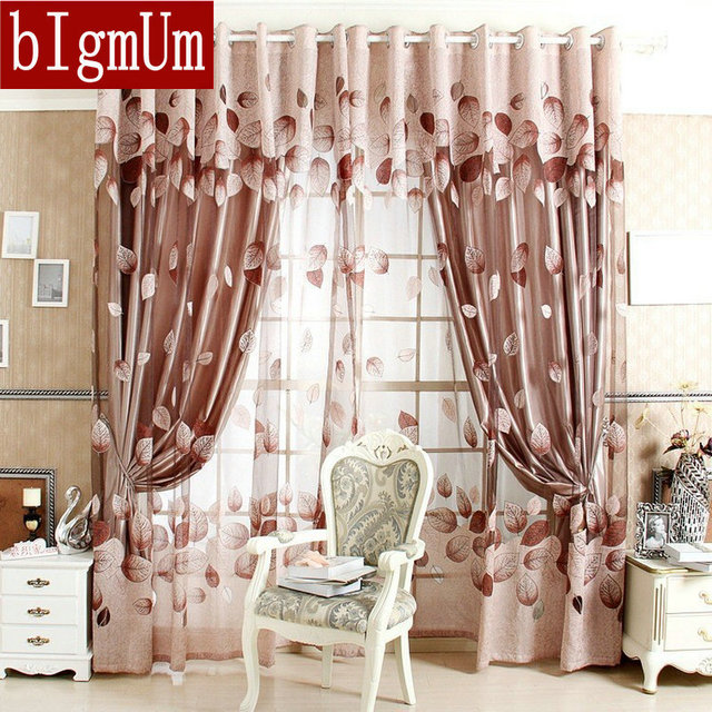 Window Curtains For Living Room 100% Blackout Curtain Curtain Patterns  Leaves Made To Measure Online