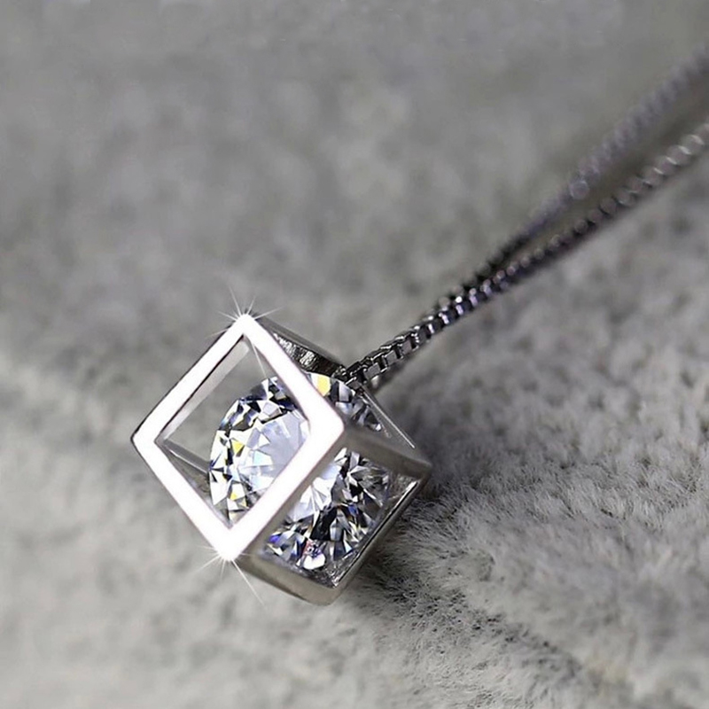 Silver Cube Necklace Crystal Zirconia Necklaces & Pendants for women collares  colar Fashion 925 Jewelry