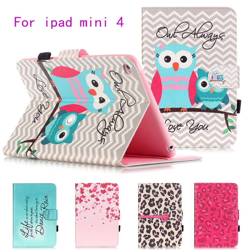 Fashion Painted Flip PU Leather Case For Apple iPad Mini 4 Cover Cases Funda Magnetic Card Slots wallet Protective Shell Capa lychee texture pu leather magnetic flip pouch protective case for ipad mini 2 3 white