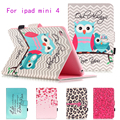 Fashion Painted Flip PU Leather Case For Apple iPad Mini 4 Cover Cases Funda Magnetic Card Slots wallet Protective Shell Capa