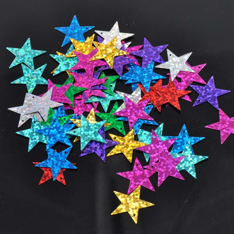 23g (500pcs) Christmas Small Star Laser Sequin For Crafts&paillette Sewing Scrapbooking Lentejuelas Beads 19mm Cp0808