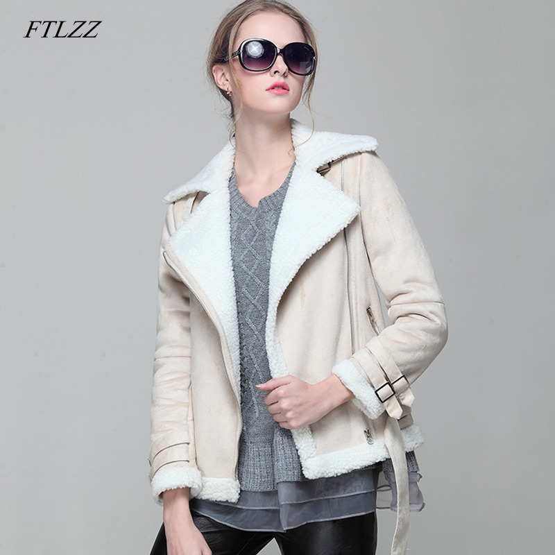 FTLZZ Women Faux Lamb   Leather   Jacket Autumn Winter Short Lambs Wool Coat Female Biker Faux   Leather     Suede   Motorcycle Overcoat