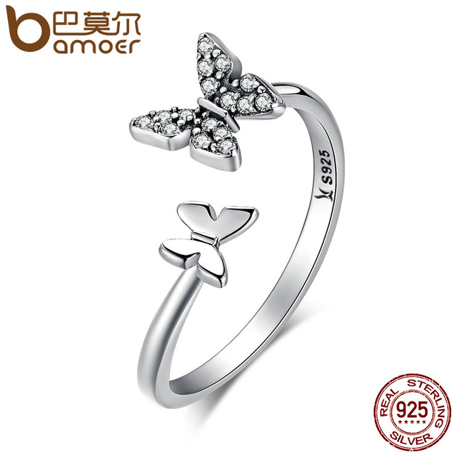 BAMOER Hot Sale 925 Sterling Silver Dazzling CZ Butterfly Open Finger Ring for W