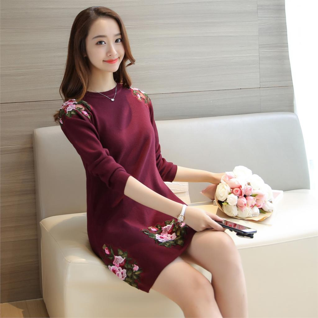 Image 2 - 3090 (6 rooms, 6 rows 4), in real time, autumn embroidered Peony  Flower Embroidered peony collar knitted sweater 66Pullovers   -