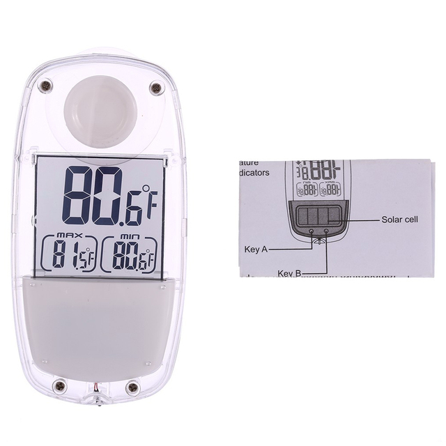 Lcd Digital Solar Window Thermometer Suction Cup Temperature Meter Weather Station For Indoor Home Car