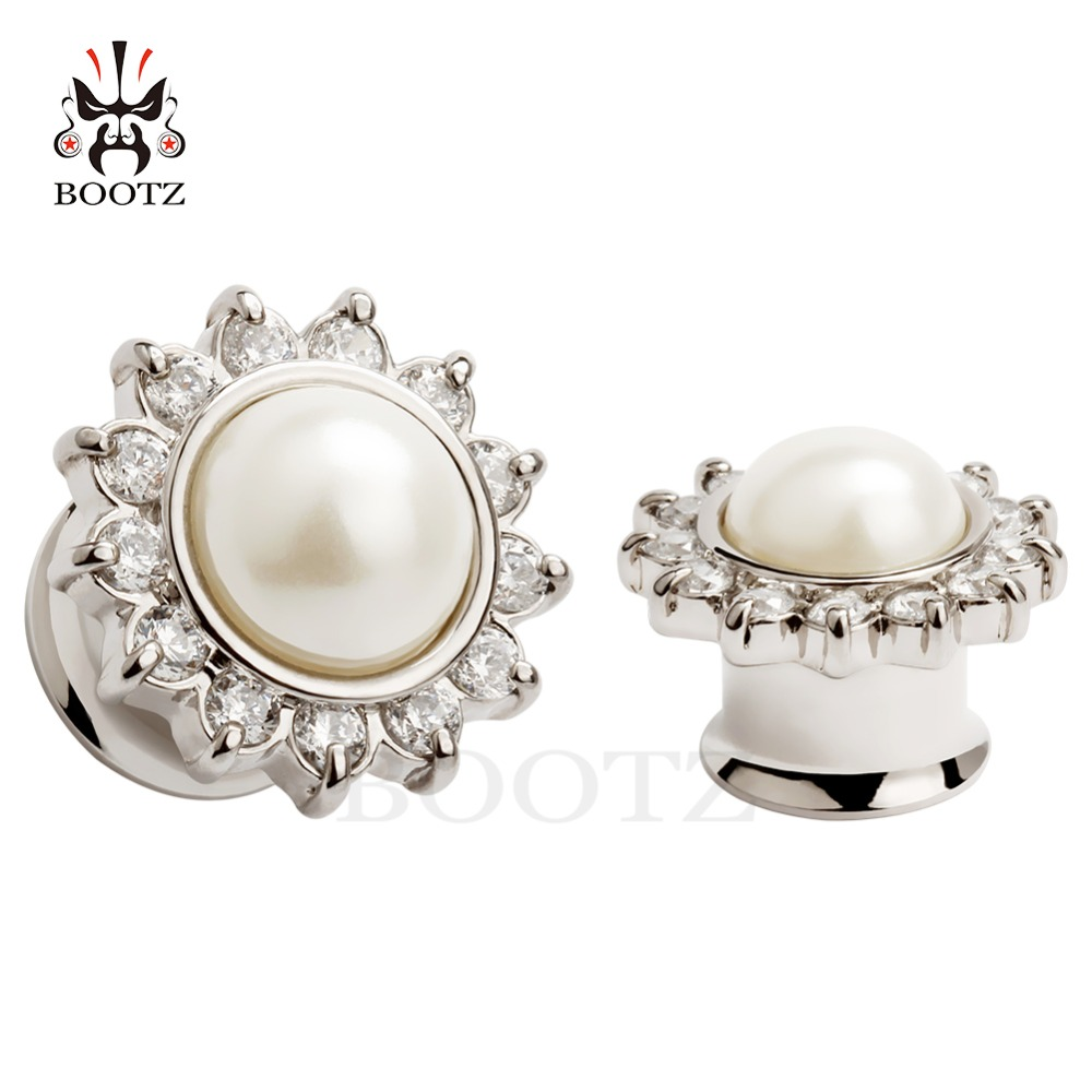 KUBOOZ 2PCS Ear Piercing Stretcher Tunnel  Fashion Crystal Stainless Steel Plug Gauges Body Jewelry Expander Earring Gift Unisex