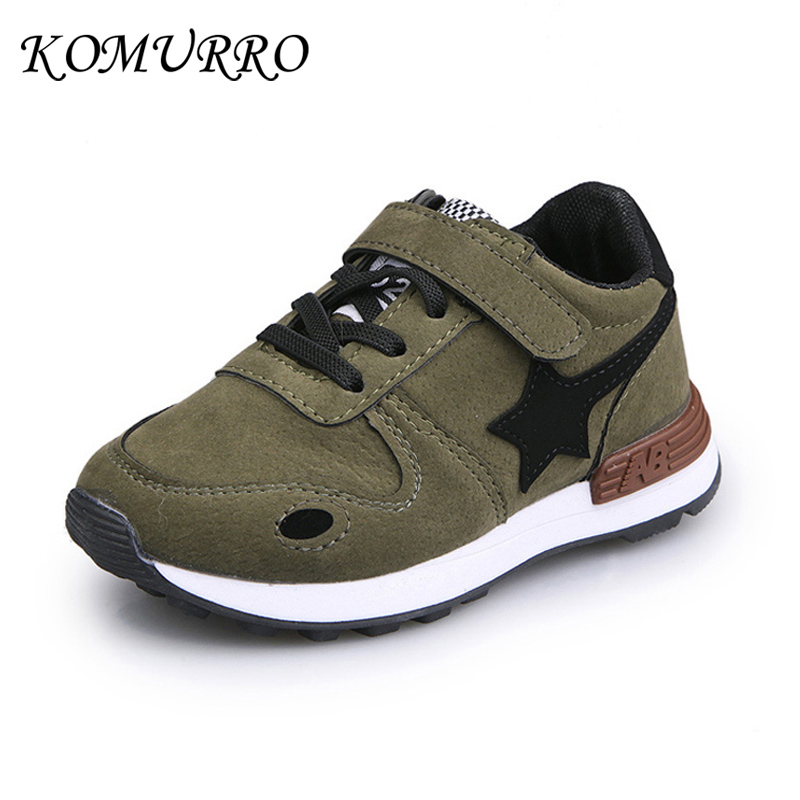 Boys Sneakers Spring Children Shoes PU Leather Fashion Star Shoes For Kids Girls Hook & Loop Spring Children Boys Casual Shoes