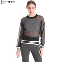 LERFEY Women Fishnet T Shirt Sexy See Through Mesh Black White Zipper Tops Casual Long Sleeve