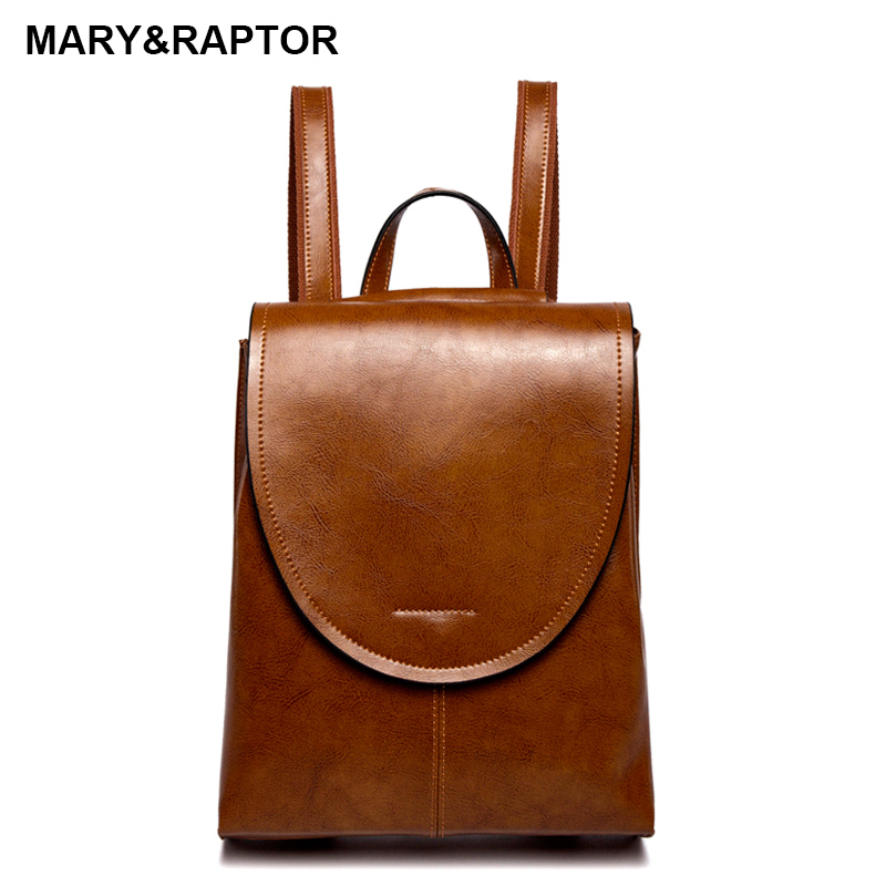 Genuine Leather Women Backpacks Burnished Leather Vintage Female Backpack Soft Cowhide Travel Bags School Books Bag