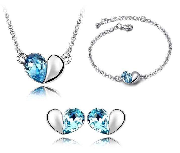 Cristal Corazón Colgante Amante Conjuntos de joyería de moda chica de la fiesta regalos de las mujeres Envío de la gota libre encantos de promoción austriacos de calidad superior