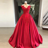 Red Puffy 2019 Cheap Quinceanera Dresses Ball Gown V neck Off The Shoulder Pearls Party Sweet 16 Dresses