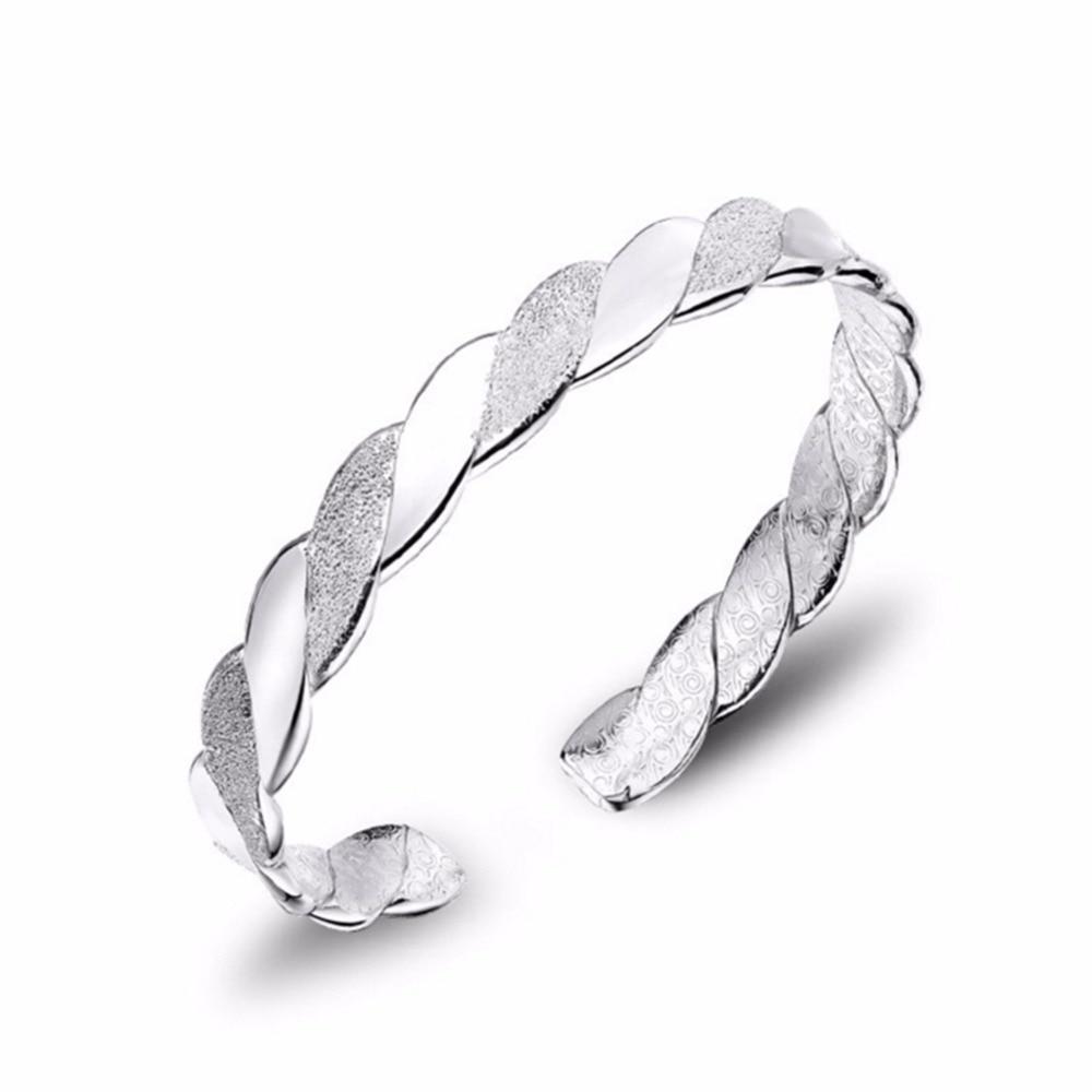 GEEZII 2018 Super manchette argent creux bracelet bracelet femme dame brassard bijoux de mode Fine S990