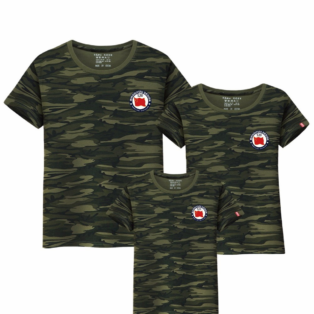 2018 Summer Style Family Matching Outfits Dad and Boy Camouflage T shirt short sleeve Mother Daughter Clothes Family Clothing 2017 hot sale family matching outfits t shirt mom dad boys and girls camouflage cotton100% short sleeve t shirt