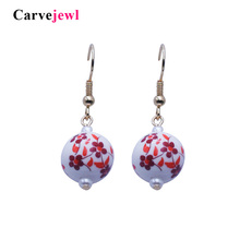 Carvejewl drop Earrings cute porcelain ball Drop Dangle For Women jewelry girl gift plastic hook anti allergy earrings