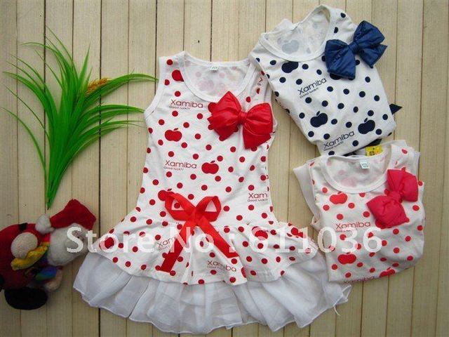 freeshipping 4 pcs/lot 2-6 years bow  girls dress,baby clothes,kids wear, Girls' T-shirts kids skirt ,girls suit