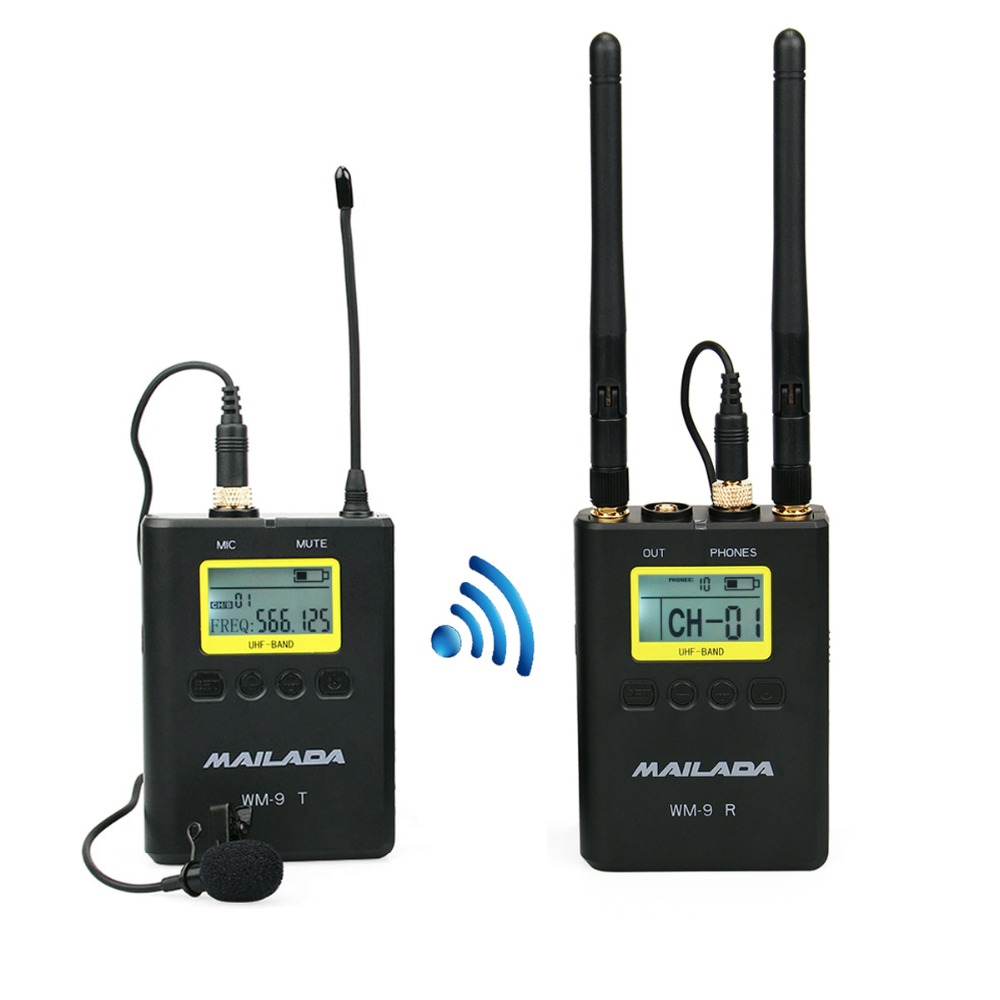 WM 9 UHF Wireless Microphone System 100m Distanc 50 Channel Lavalier Lapel Mic Receiver Transmitter for