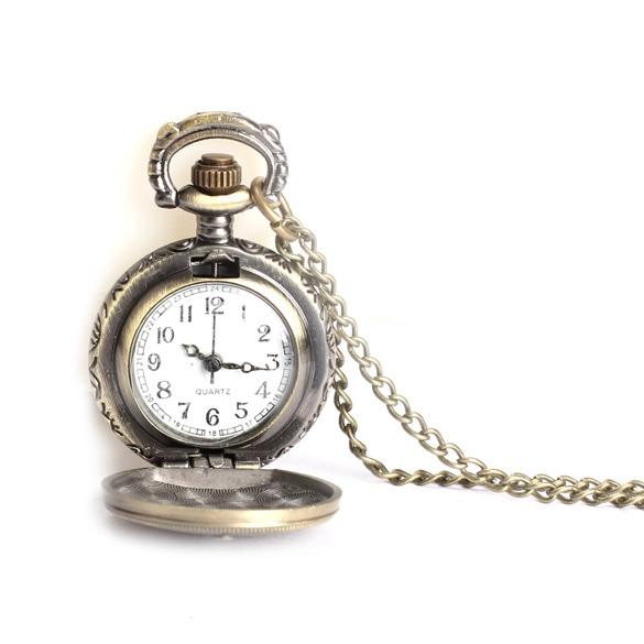Hot Bronze Retro Travelpro Pattern Alloy Quartz Necklace Chain Pocket Watch    LXH bronze roman pocket watch antique numerals chain necklace pendant quartz lxh