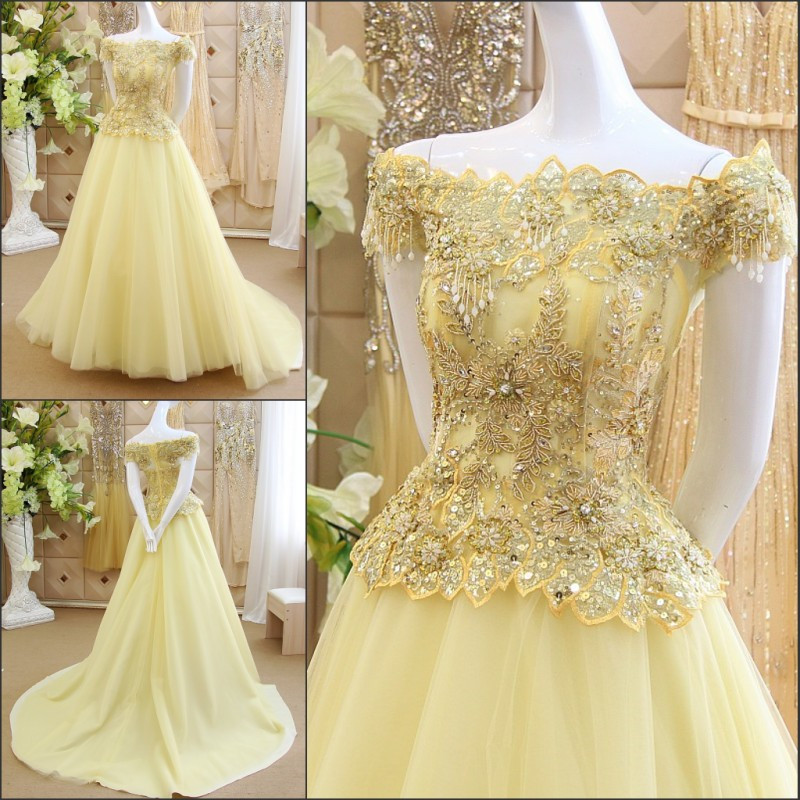 Elegant A Line Long   Evening     Dress   2015 New Arrival Formal   Dresses   Lace Appliques Beads Crystals Luxury Robe De Soiree IZ530