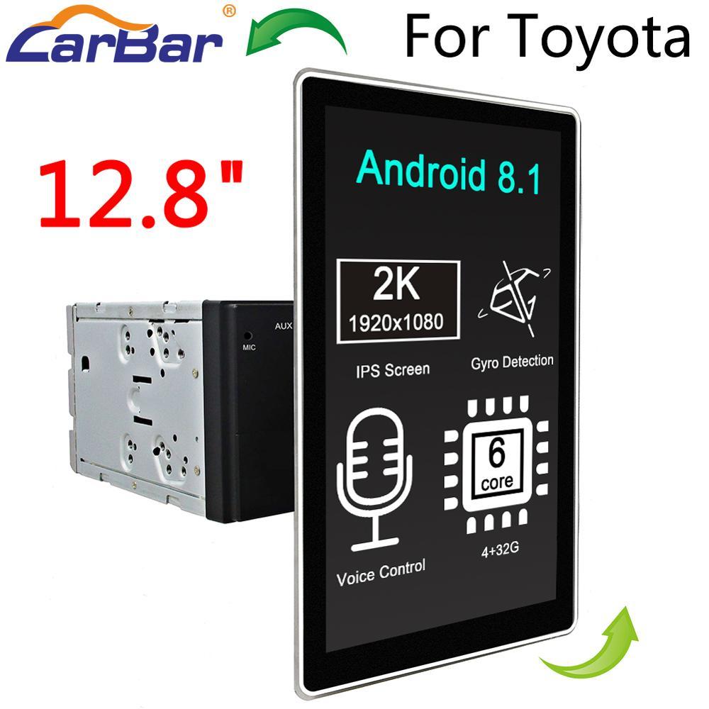 Carbar 12,8 estilo Tesla rotación IPS pantalla Android 8,1 coche DVD GPS reproductor de Radio para el viejo Toyota Camry Corolla RAV4 Prado Vios