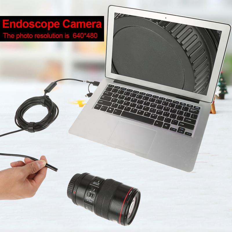 0,3 Mega Pixel 3 In 1 Wasserdichte Usb Endoskop Endoskop Inspektion Kamera 5 Mt Kabel Für Android Mit 6-leds 640x480 Auflösung