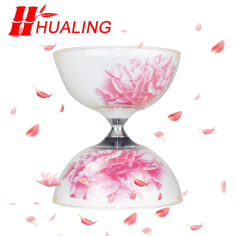 Hualing flowersdiabolo 5 Bearings juggling Toys Professional peony Diabolo Set Packing with String Bag