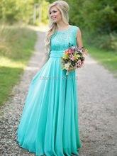 Modest Scoop Neck Ice Blue lace and Chiffon  Long Bridesmaid Dress robe de demoiselles d honneur pour mariage