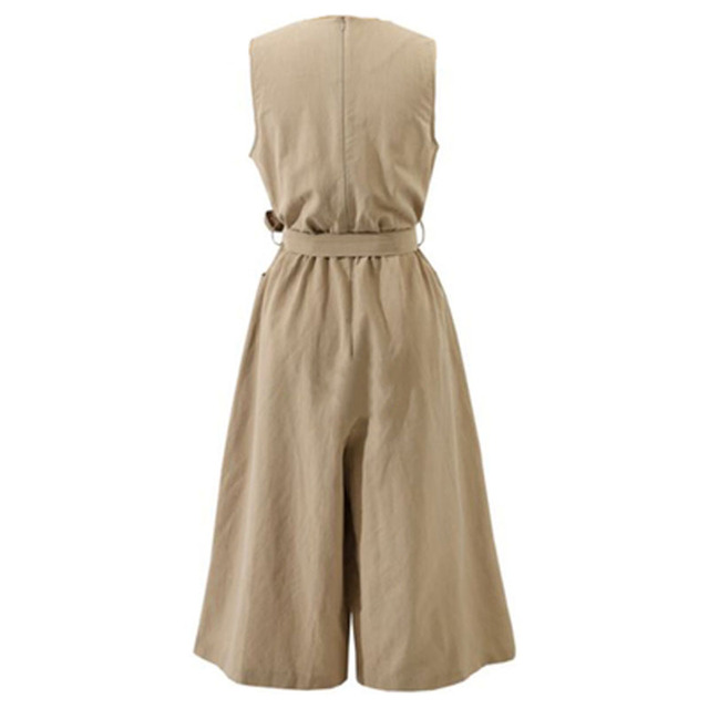 Nowy 2019 lato styl europejski kobiet kombinezony luźne bez rękawów krawat łuk pajacyki damskie w stylu Vintage pościel bawełniana kombinezon jednoczęściowy plus size