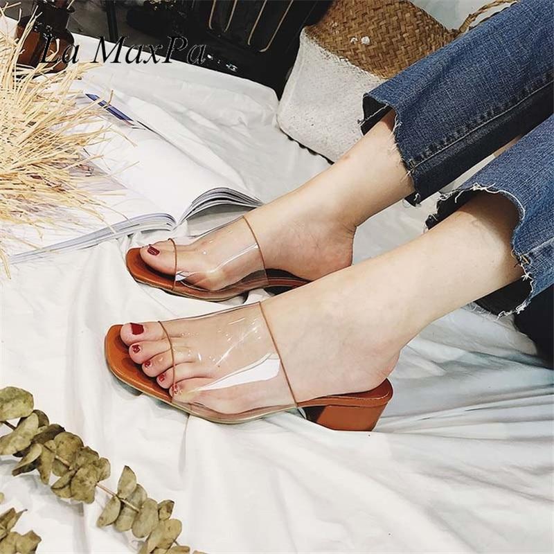 Women Slip On Slippers Med Heel Women Shoes Brand Transparent PVC Slipper Lady Summer Open Toe Beach Slides Flip Flops Size 39