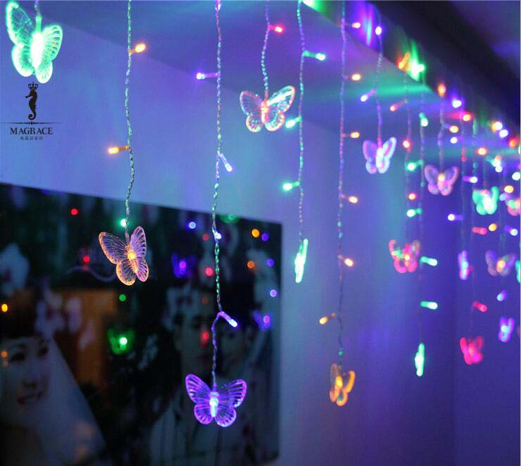 Hot sale!Beautiful RGB Butterfly 3.7m LED STRING Strip Festival Holiday Curtain LIGHTS CHRISTMAS WEDDING Decor Lamps 110V/220V