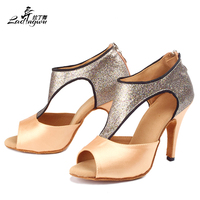 Women's Zipper Satin Square Dance Shoes Latin Salsa Dance Shoes Latin Woman Performance Ballroom Shoes Size 35 44