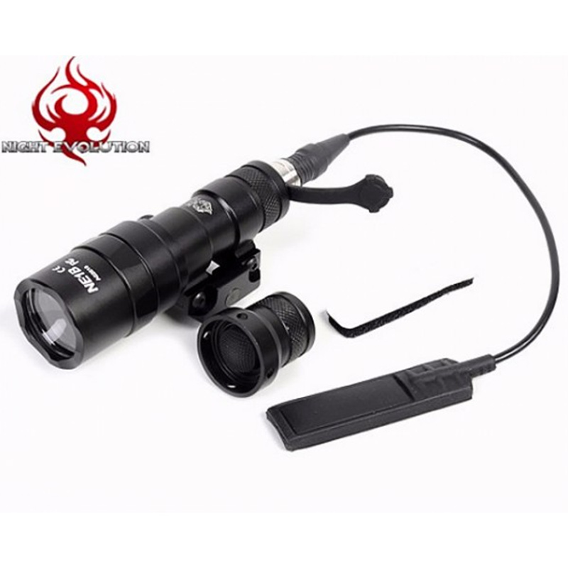 Night Evolution M300B Mini Tactical Scout Light Pistol LED Flashlight Airsoft Hunting Weapon Light NE04024 tactical flashlight with tail switch m300b mini scout light new version light black de
