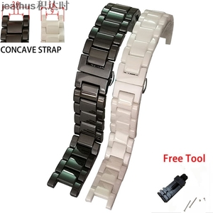 Image 1 - Jeathus butterfly buckle watchband concave ceramic watch band watch strap 20*11 16*9mm bracelet replacement for gucci omega GC