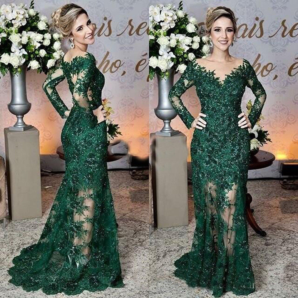 Dark Green Mother of the Bride Dresses Lace Applique Mermaid Evening Prom Gown