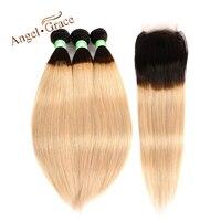 Ange Grâce Cheveux Brésiliens Cheveux Raides 3 Bundles Avec Fermeture Ombre 1b/27 Cheveux Brésiliens Armure Bundles 10-26 Pouce Remy Cheveux