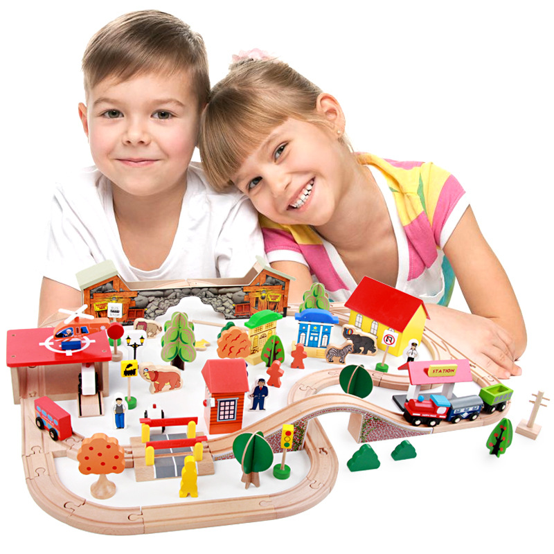 89Pcs Train Toy Vehicles Kids Toys T-homas Train Toy Model Cars Building Blocks Slot Track Rail Transit Parking Carage