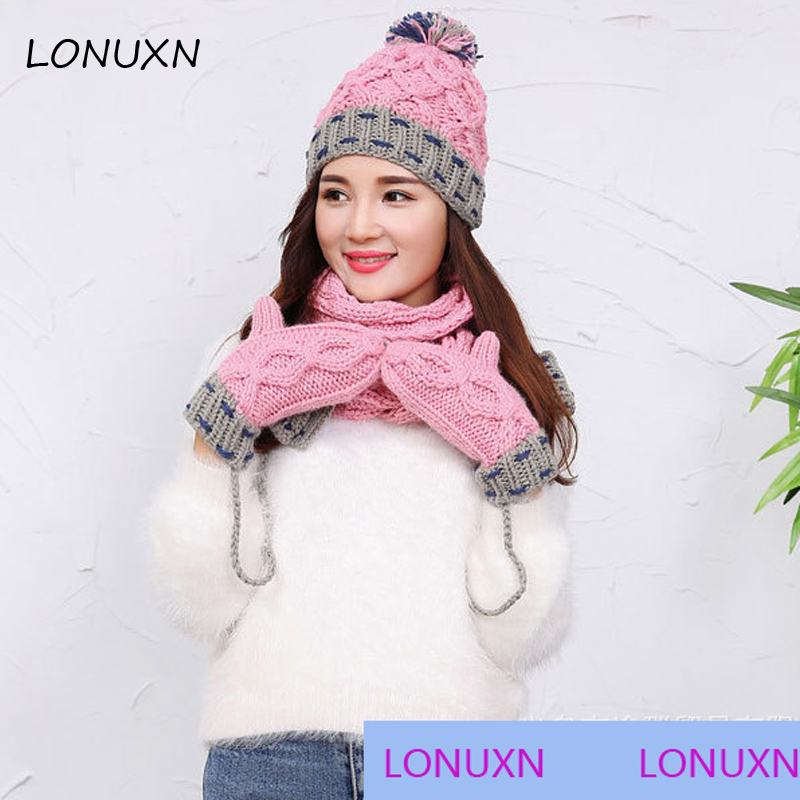 3 Pieces/lot 3 Colors Korean Winter Color Matching With Cashmere Wool Scarf+ Hat+ Gloves Suit All-match New Warm And Comfortable