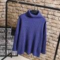 Водолазки Свитера Женщины Плюс Размер Повседневная Раскрывающемся плеча Твердые Пуловеры Свитер Синий Серый KK2235