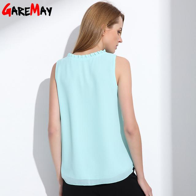 GAREMAY Shirt Women Summer Chiffon Tops White Sleeveless Blouses For Women Clothes Ruffle Elegant Vintage Feminine Shirts T098