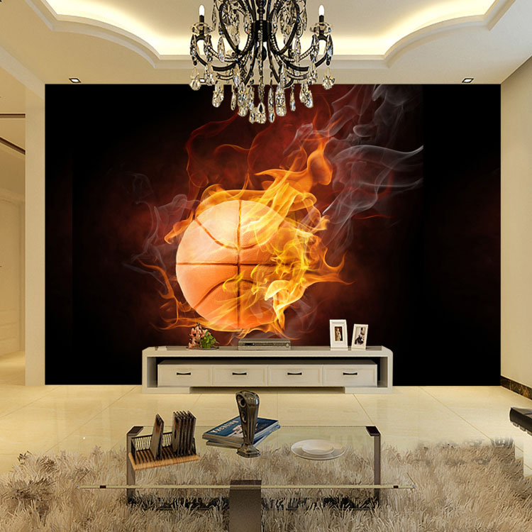 Wholesale Fire Basketball 3d Wall Photo Mural Wallpaper For Living
