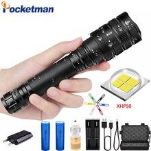 65000lm 50w Original XHP50 Powerful Tactical LED flashlight torch zoom lens 2pcs 18650 battery 4400mA